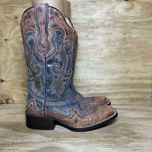 Corral Boots Womens Size 6.5 Distressed Black Square Toe w/Cognac Overlay G1213